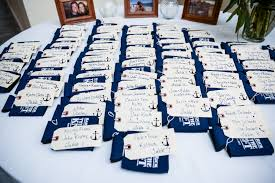 wedding koozie favors navy white nautical themed wedding by lennon photo two bright