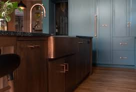 blue kitchen cabinets with copper hardware photo 11 of 25 in kitchen colorful granite photos from