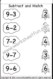 subtraction u2013 subtract and match free printable worksheets