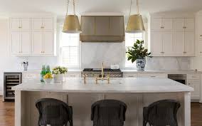 White Island Light Antique Brass Drum Pendant Lights Over White Island Transitional