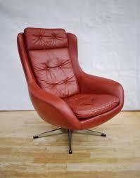 Red Leather Swivel Chair by Vinterior Vintage Midcentury Antique U0026 Design Furniture