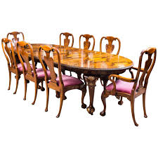 antique queen anne style dining table and eight chairs circa 1920