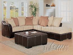 Beige Sectional Sofa Beige Microfiber Two Tone Sectional Sofa W Brown Bycast Base