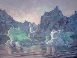 icebergs midnight sun