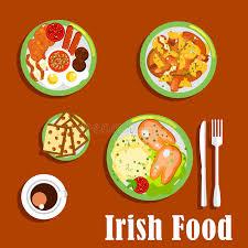 cuisine irlandaise traditionnelle plats irlandais traditionnels de cuisine réglés illustration de