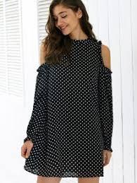 black cut out dress polka dot sleeve cut out dress black print dresses s zaful