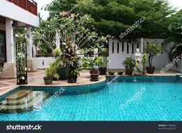 beautiful swimming pool courtyard house thailand stock photo