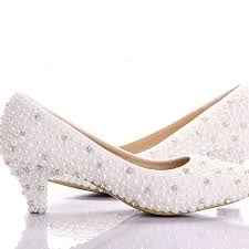 wedding shoes no heel aliexpress buy 2016 best white pearl low heels shoes custom