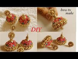 diy how to make designer silk thread bridal jhumka earrings at