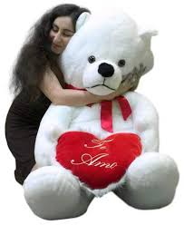 big valentines day teddy bears big plush teddy 62 inch soft white holds te amo heart