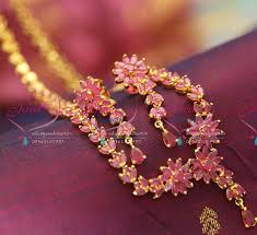 long flower necklace images Adl0809 ruby leaf chain flower pendant long necklace quality JPG