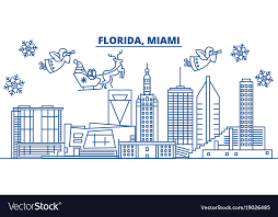 usa california miami winter city skyline merry vector image
