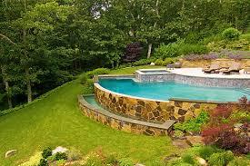 Slopedbackyardpoolideas Home Pinterest Sloped Backyard - Backyard landscape designs with pool