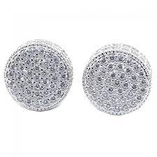 mens stud earrings stud earrings sterling silver disc earrings cz back 11 5mm