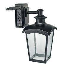 outdoor light with gfci outlet hton bay die cast exterior lantern with gfci black md 31343 the
