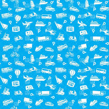 blue wrapping paper seamless blue wrapping paper with transport royalty free vector