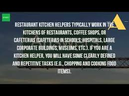 Sample Resume For Kitchen Helper by What Is A Kitchen Helper Youtube