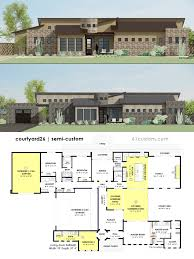 contemporary one story house plans baby nursery house plans with center courtyard courtyard house