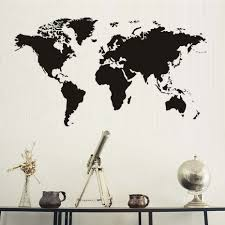 creative home decor world map atlas wall sticker black printed