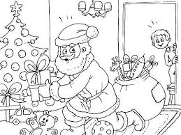 A Kids Sees Santa Claus Putting The Presents Under The Christmas Children S Tree Coloring Pages