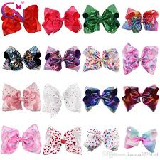 cheap hair bows 8 inch rhinestone hair bows jojo bows with clip for school baby