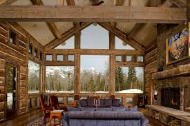 decoration eclectic living room with exposed wooden truss and