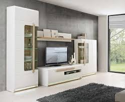 Wohnzimmerschrank Lack Wohnwand In Weiß Hochglanz Mit Abs In Sonoma Eiche Nb 2 Vitrinen
