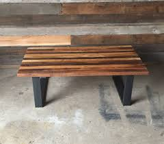 butcher block coffee table made with reclaimed wood and steel