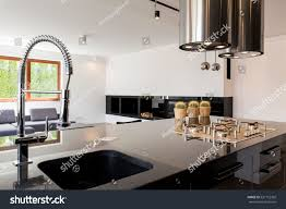 modern kitchen interior highpolished countertop sink stock photo