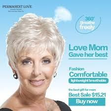 gray hair popular now short straight mother gray hair wigs fashion heat resistant