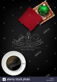 christmas card gift box with cookies and balls on chalkboard stock