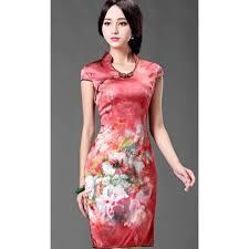 modern dress modern real silk flowers print reformed cheongsam day dress
