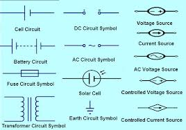 different types of electronic circuit with symbols