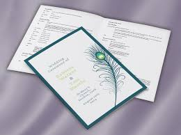 wedding booklets peacock feather ceremony mass booklet wedding print