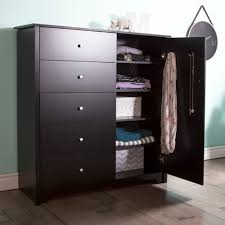 Black Armoire South Shore Vito Door Chest With 5 Drawers Pure Black Home