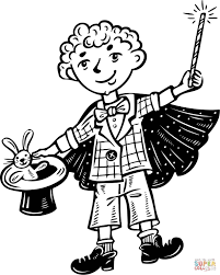 kid magician coloring page free printable coloring pages