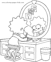 simpsons color cartoon characters coloring pages color plate