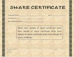 shareholder certificate template share stock certificate template