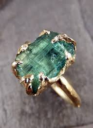 gemstone rings gold images Raw sea green tourmaline gold ring rough uncut gemstone tourmaline jpg