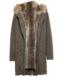 yves salomon classic rabbit fur lined canvas parka in gray for men
