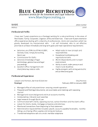 Resume Sample Experienced Professional by Personal Injury Legal Assistant Resume Sample