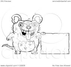 cartoon clipart of an outlined ugly rat with a sign black and
