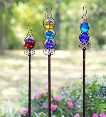 glass garden stakes set of 3 decorative garden accents