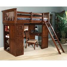 cream brown wooden loft bed with black desk under the bed combined