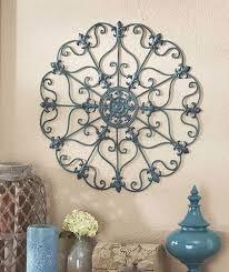 teal blue iron wall medallion sculpture art porch patio living