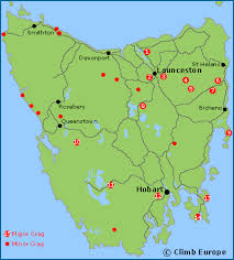 map of tasmania australia rock climbing and sport climbing in tasmania