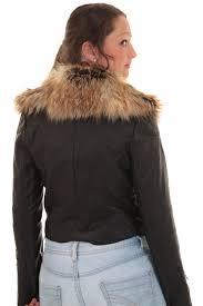 biker coat ladies detachable faux fur collar women u0027s crop synthetic leather