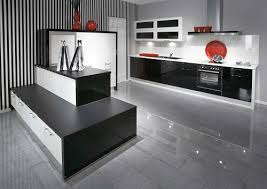 black gloss kitchen with modern style home design ideas
