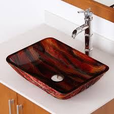 elite 1419 lava rectangle tempered glass bathroom vessel sink