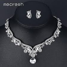 color rhinestone necklace images Mecresh leaf crystal wedding jewelry sets for women silver color jpg